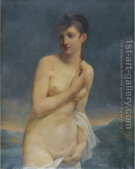 A Female Bather With An Extensive Landscape Beyond by Jacques-Antoine Vallin - Reproduction Oil Painting
