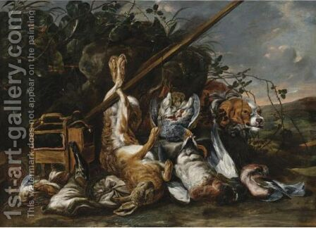 Game And Hunting Acoutrements In A Landscape by (after) Jan Fyt - Reproduction Oil Painting