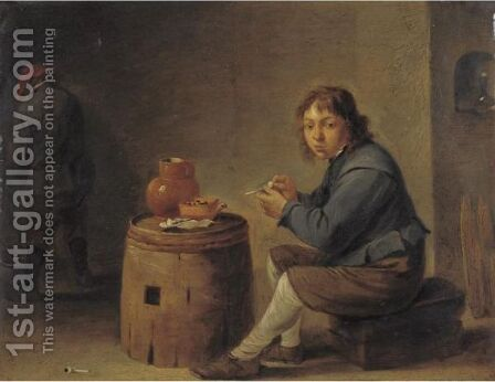 A Young Man Seated Filling His Pipe by (after)  David The Younger Teniers - Reproduction Oil Painting