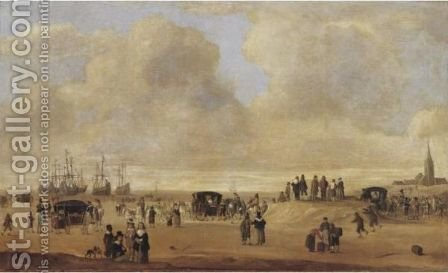 A Beach Scene With Figures by (after) Cornelis Beelt - Reproduction Oil Painting