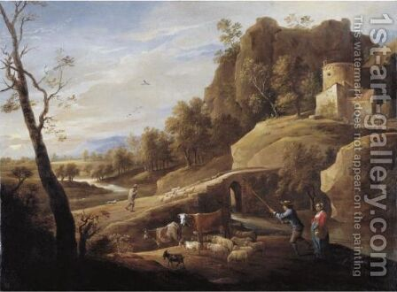 Landscape With A Shepherd And Shepherdess And Their Flock Along A Path by David The Younger Teniers - Reproduction Oil Painting