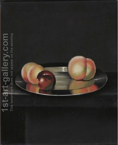 Still Life With Peaches And An Apple On A Pewter Plate by (after) William Jones Of Bath - Reproduction Oil Painting