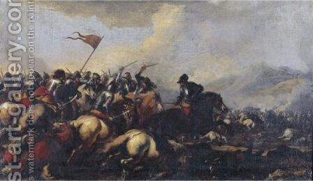 A Cavalry Engagement by (after) Pandolfo Reschi - Reproduction Oil Painting
