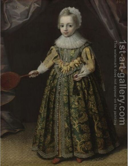 Portrait Of A Little Girl Holding A Battledore And Shuttlecock by (after) Paulus Van Somer - Reproduction Oil Painting