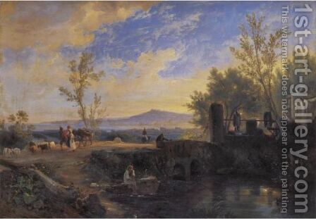 Peasants And Animals In A Landscape In Naples by Anthonie Sminck Pitloo - Reproduction Oil Painting
