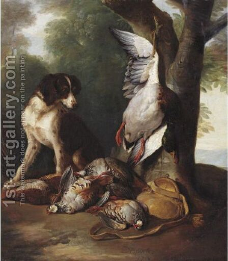 Still Life Of Game Birds And A Dog In A Landscape by Alexandre-Francois Desportes - Reproduction Oil Painting
