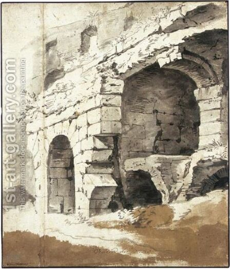 Study Of The Walls Of The Colosseum by Jan Frans van Orizzonte (see Bloemen) - Reproduction Oil Painting