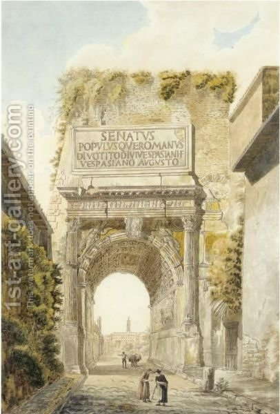 The Arch Of Titus by (after) Louis-Francois Cassas - Reproduction Oil Painting