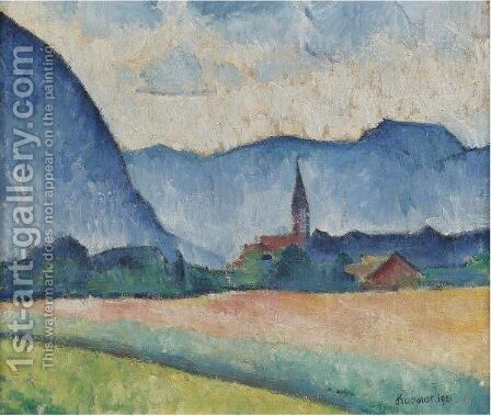 Landscape With Church Spire by Alexander Kanoldt - Reproduction Oil Painting