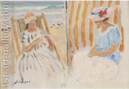 Deux Jeune Filles Sur La Plage De Saint-Jean-De-Monts by Henri Lebasque - Reproduction Oil Painting