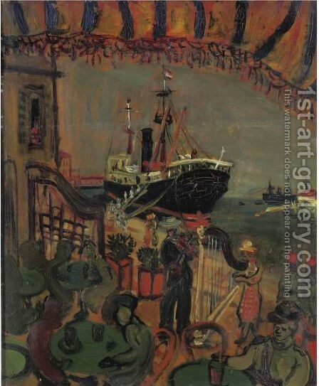 Le Depart Pour La Corse (Le Port De Le Havre) by Abraham Mintchine - Reproduction Oil Painting