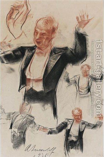 Impressions Of Sergei Koussevitsky, Conducting The Boston Symphony Orchestra by Alexander Evgenievich Yakovlev - Reproduction Oil Painting