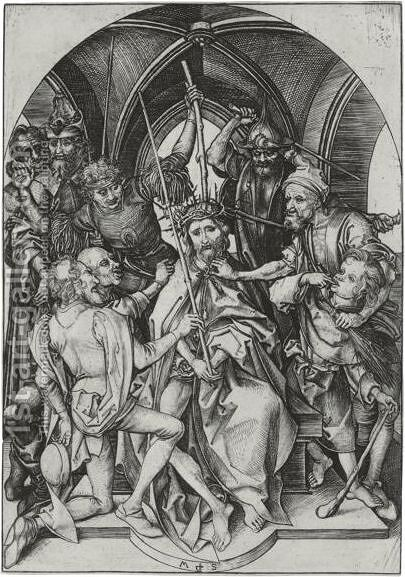 Christ Crowned With Thorns by Martin Schongauer - Reproduction Oil Painting