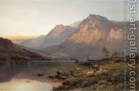 Evening Glow, Ben More by Alfred de Breanski - Reproduction Oil Painting