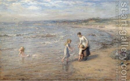 Playing In The Waves by Hugh Cameron - Reproduction Oil Painting