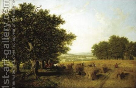 The Harvest Evening Round, Near Horsham, Sussex by Arthur H. Davis - Reproduction Oil Painting