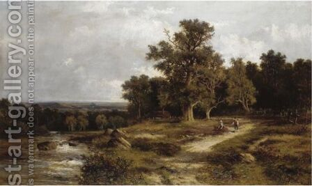 View Near Totnes, Devon by Abraham Hulk Jun. - Reproduction Oil Painting