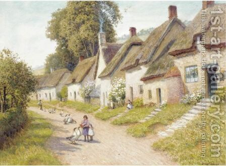 Geese On A Village Road by Arthur Claude Strachan - Reproduction Oil Painting