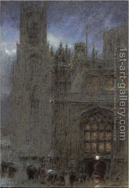 A Wet Night, York by Albert Goodwin - Reproduction Oil Painting