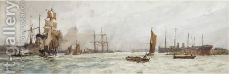 A Busy Harbour by Charles Edward Dixon - Reproduction Oil Painting