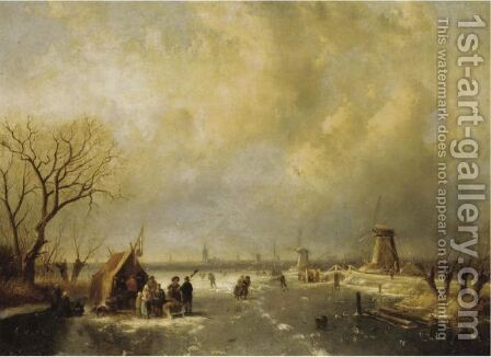 Winter Scene With Skaters by Charles Henri Leickert - Reproduction Oil Painting