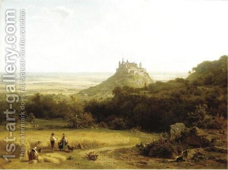 Haymaking By A Medieval Castle, Germany by Arnold Meermann - Reproduction Oil Painting