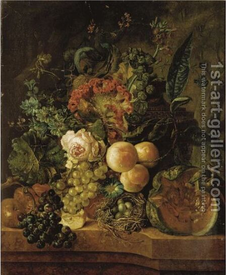 Still Life With Fruit And Flowers by (after) Jan Van Os - Reproduction Oil Painting