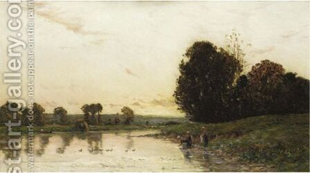 River Scene At Sunset With Washer Women by Hippolyte Camille Delpy - Reproduction Oil Painting