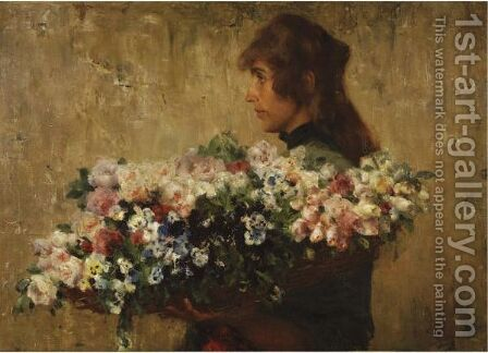 The Flower Seller by Charles Hermans - Reproduction Oil Painting