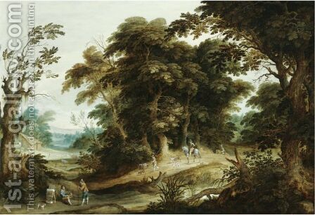 A Wooded Landscape With A Poultry-Seller, Travellers And Dogs On A Path Beyond by Alexander Keirinckx - Reproduction Oil Painting