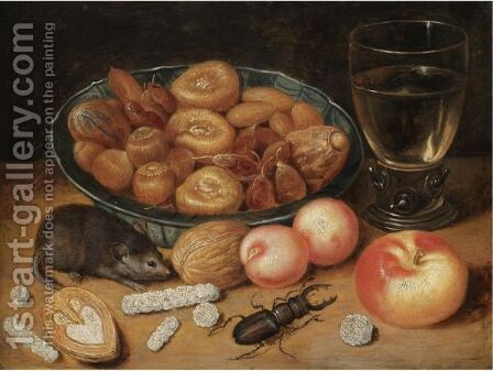 Still Life Of Chestnuts And Hazelnuts In A Porcelain Bowl, A Roemer, An Apple, Apricots, A Beetle And A Mouse by (after) Georg Flegel - Reproduction Oil Painting