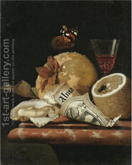 A Still Life With A Quince, A Lemon, An Oyster, A Partly Rolled-Up Leaflet And A Wine Glass by Marten Nellius - Reproduction Oil Painting