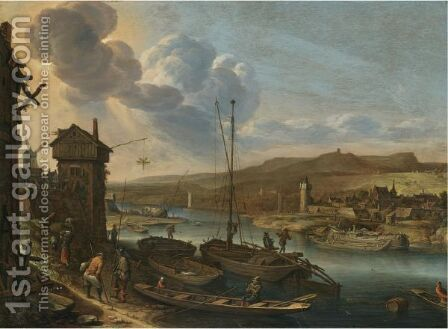 A Rhenish River Landscape With Figures Unloading Boats At The Quayside by Herman Saftleven - Reproduction Oil Painting