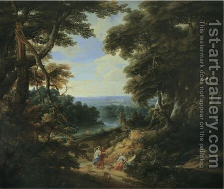Landscape With A Castle And Figures by Jaques D'Arthois - Reproduction Oil Painting