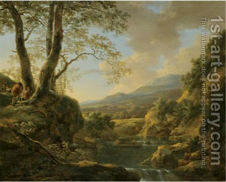 An Extensive River Landscape With Herdsmen Resting Their Goats Under A Tree by Jan Both - Reproduction Oil Painting
