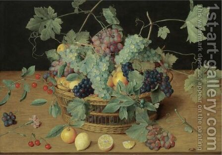 A Still Life With Fruit In A Basket, Including Bunches Of Grapes And Lemons, Cherries And Oranges On The Wooden Table Beneath by Isaak Soreau - Reproduction Oil Painting