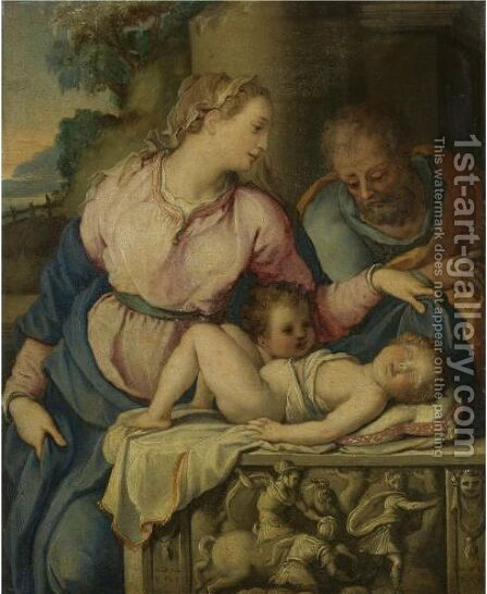 The Holy Family With The Infant Saint John The Baptist by Alessandro Allori - Reproduction Oil Painting
