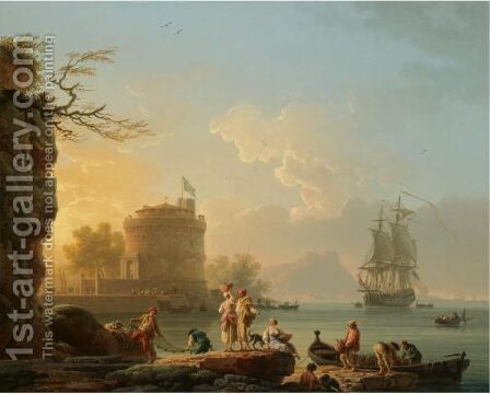 A Mediterranean Harbour Scene At Sunset, With Fishermen Unloading Their Catch Before A Round Fortress, A Man-Of-War At Anchor Beyond by Claude-joseph Vernet - Reproduction Oil Painting
