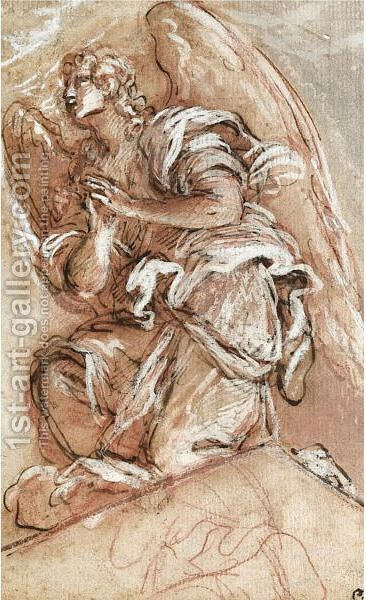Study Of A Kneeling Angel by Giuseppe Passeri - Reproduction Oil Painting