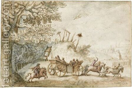 Landscape With A Coach And Four Driving From Woods Past A Gibbet, Towards A Town 2 by Matthäus the Elder Merian - Reproduction Oil Painting