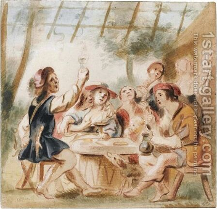 Merry Company Under An Arbour by Jacob Jordaens - Reproduction Oil Painting