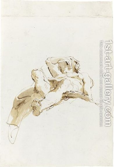 Reclining Figure Seen From Below by Giovanni Battista Tiepolo - Reproduction Oil Painting