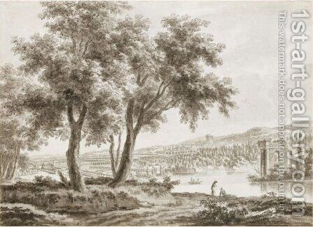 View Across A Landscaped Park, With A Country House To The Left And Figures By A Lake To The Right by Jacques Rigaud - Reproduction Oil Painting