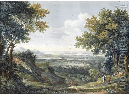 A View Of The Roman Campagna With Abraham And Isaac In The Foreground by Giovanni Battista Busiri - Reproduction Oil Painting