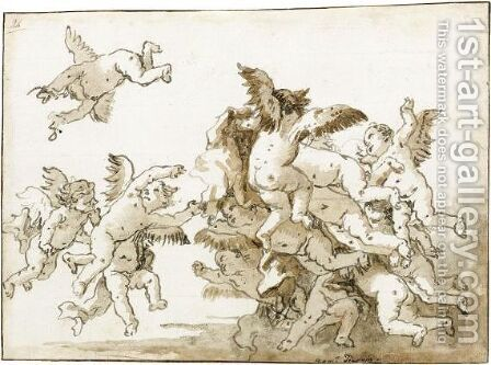 A Group Of Putti Playing In The Clouds by Giovanni Domenico Tiepolo - Reproduction Oil Painting