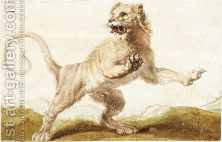 A Startled Lion by (after) Carl Borromaus Andreas Ruthart - Reproduction Oil Painting