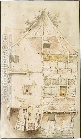 Study Of A Tall, But Ramshackle Gabled House by Cornelis Dusart - Reproduction Oil Painting