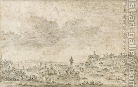 View Of A Riverside Town by Jan van Goyen - Reproduction Oil Painting