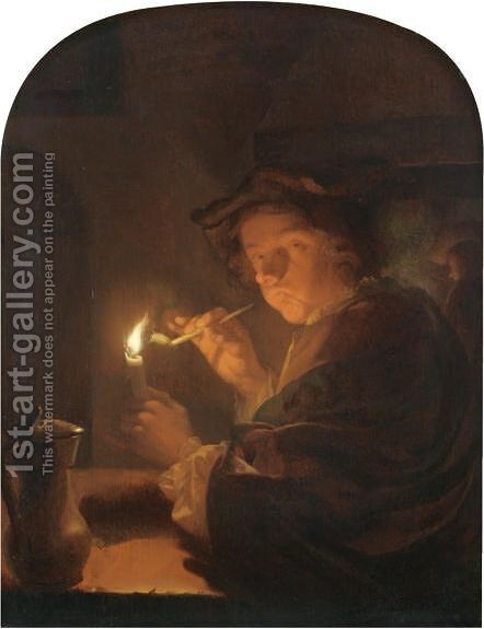 A Nocturnal Interior With A Toper by Godfried Schalcken - Reproduction Oil Painting