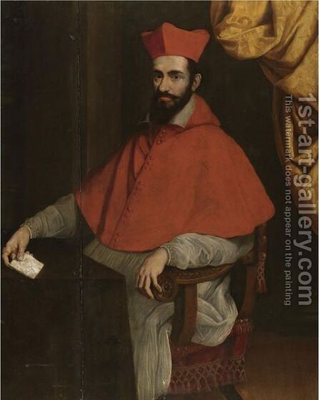 Portrait Of A Cardinal, Seated Behind A Desk, Holding A Note In His Right Hand by (after) Scipione Pulzone - Reproduction Oil Painting
